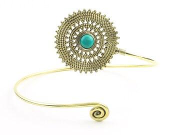 Mandala Magic Upper Arm Cuff, Turquoise Arm Band, Festival, Gypsy, Boho, Bohemian, Gemstone, Hippie, Mandala