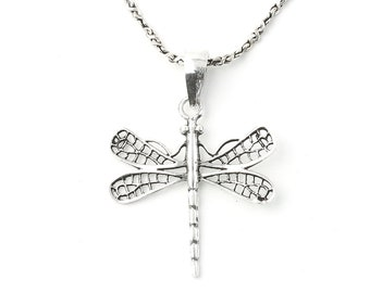 Dragonfly Sterling Silver Necklace, Nature Jewely, Hippie, Spiritual, Boho, Gypsy, Festival Jewelry