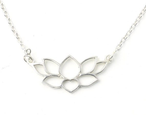 Lotus Sterling Silver Necklace, Flower Necklace, Yoga, Meditation, Spiritual, Boho, Gypsy, Festival Jewelry