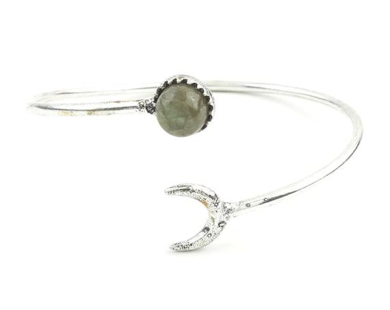 Moonstruck Brass Bracelet, Labradorite Moon Bracelet, Stone Bangle, Arm Cuff, Boho, Bohemian, Gypsy, Festival Jewelry, Minimal