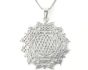 Sri Yantra necklace, Sacred Geometry necklace, Festival Jewelry, Hippie, Gypsy, Geometric power necklace