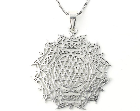 Sri Yantra necklace, Sacred Geometry necklace, Festival Jewelry, Hippie, Gypsy, Geometric power necklace