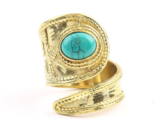 Qala Ring, Brass Turquoise Ring, Yoga Jewelry, Tribal, Ethnic Ring, Gypsy, Hippie Jewelry, Festival Jewelry, Boho