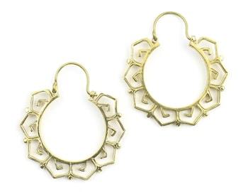 Bursa Earrings, Brass Hoop Earrings, Spiral Earrings, Tribal Earrings, Festival Jewelry, Gypsy Earrings, Ethnic, Yoga