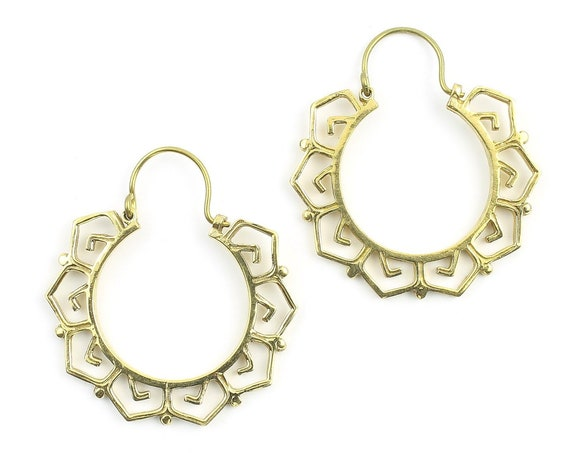 Bursa Earrings, Brass Hoop Earrings, Spiral Earrings, Tribal Earrings, Festival Jewelry, Gypsy Earrings, Ethnic, Yoga