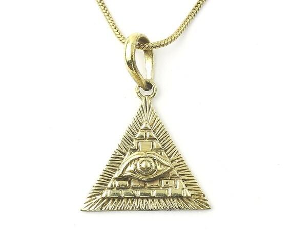Illuminati Necklace, Brass Eye Pendant, Pyramid, Evil Eye, Festival Jewelry, Boho, Bohemian, Gypsy, Hippie, Spiritual