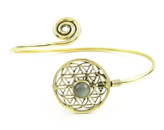 Flower Of Life Labradorite Bracelet, Lower Arm Band, Festival, Gypsy, Boho, Bohemian, Gemstone, Hippie, Mandala