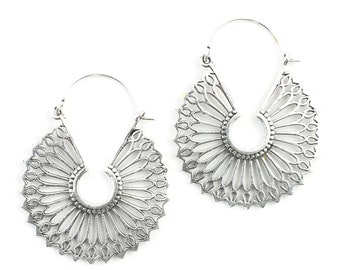 Ephesus Earrings, Hoop Earrings, Mandala Earrings, Tribal Earrings, Festival Jewelry, Gypsy Earrings, Ethnic, Yoga