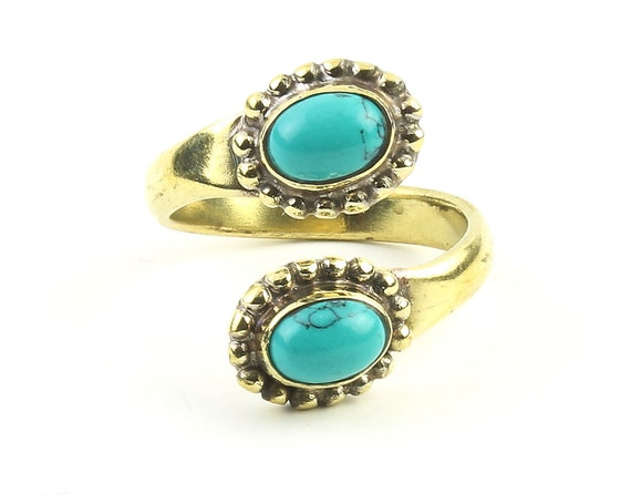 Imam Ring, Brass Turquoise Ring, Yoga Jewelry, Tribal, Ethnic Ring, Gypsy, Hippie Jewelry, Festival Jewelry, Boho