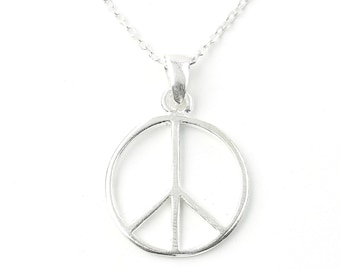 Sterling Silver Peace Necklace, Peace Sign Jewelry, Minimal, Hippie, Spiritual, Boho, Gypsy, Festival Jewelry