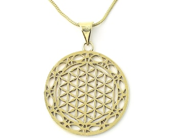 Flower of Life brass necklace, Sacred Geometry necklace, seed, Festival Jewelry, Hippie, Gypsy, Geometric power necklace
