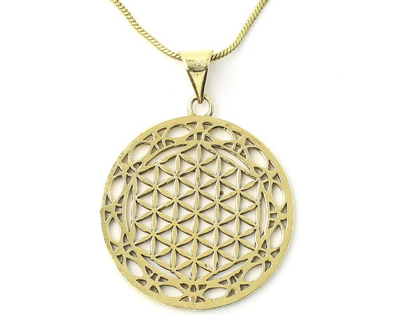 Flower of Life brass necklace, Sacred Geometry necklace, seed, Festival Jewelry, Hippie, Gypsy, Geometric power necklace