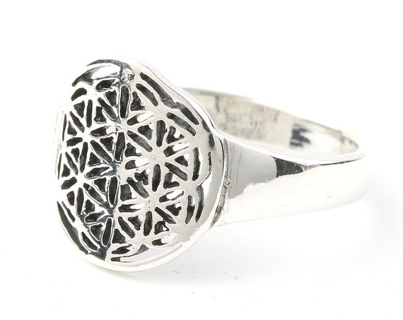 Sterling Silver Flower Of Life Ring, Sacred Geometry Ring, Bohemian, Boho, Gypsy, Festival, Yoga, Meditation Jewelry