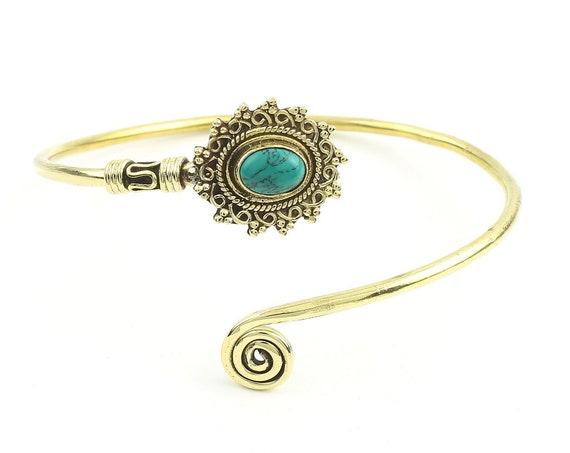 Turquoise Mandala Bracelet, Lower Arm Band, Festival, Gypsy, Boho, Bohemian, Gemstone, Hippie, Mandala