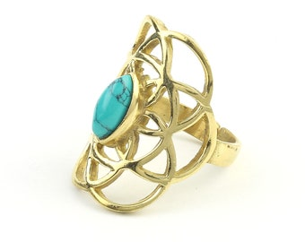 Turquoise Seed Of Life Ring, Brass Sacred Geometry Ring, Bohemian, Boho, Gypsy, Festival, Yoga, Meditation Jewelry