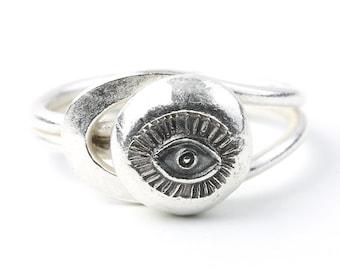 Sterling Silver Eye Ring, Evil Eye Ring, Organic, Boho, Bohemian, Hippie, Gypsy, Festival Jewelry