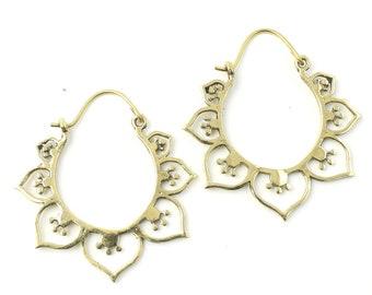 Edirne Earrings, Brass Hoop Earrings, Spiral Earrings, Tribal Earrings, Festival Jewelry, Gypsy Earrings, Ethnic, Yoga