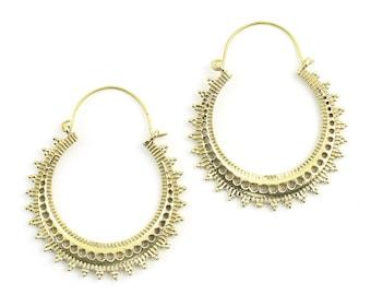 Adana Earrings, Brass Hoop Earrings, Mandala Earrings, Tribal Earrings, Festival Jewelry, Gypsy Earrings, Ethnic, Yoga