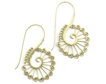 Antalya Earrings, Spiral Brass Earrings, Mandala Earrings, Swirl Earrings, Tribal Earrings, Festival Jewelry, Gypsy Earrings, Ethnic, Yoga
