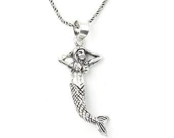 Sterling Silver Mermaid Necklace, Nautical Jewelry, Minimal, Ocean, Sea, Boho, Gypsy, Festival Jewelry