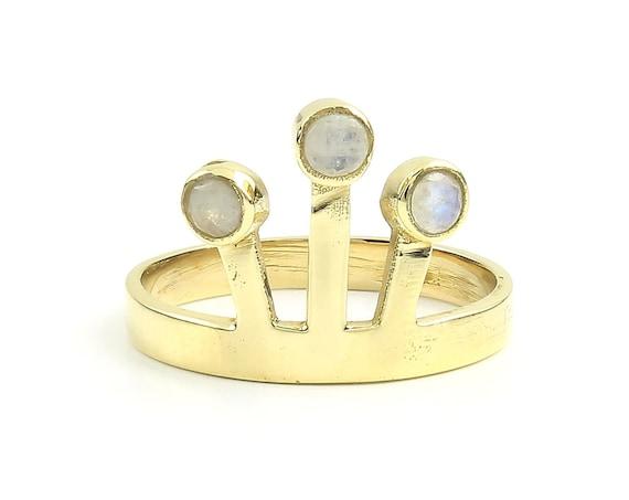 Uttar Ring, Brass Moonstone Ring, Minimalist ring, Geometric Stone Jewelry, Cosmic, Gemstone, Boho, Gypsy, Wiccan, Hippie, Spiritual