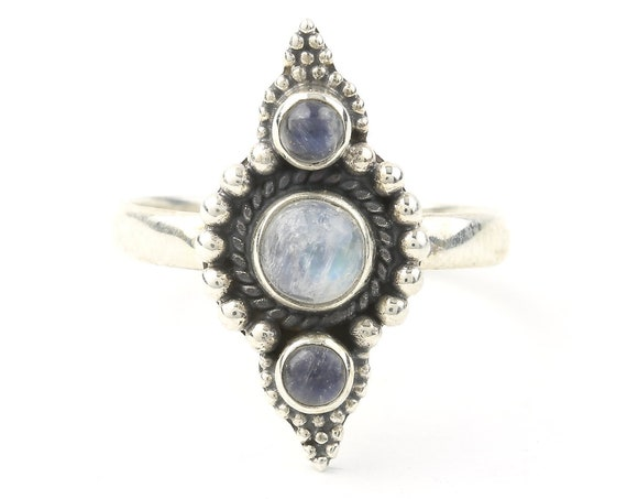 Kirkuk Moonstone Ring, Sterling Silver Moonstone Ring, Stone Jewelry, Gemstone, Crystals, Boho, Gypsy, Hippie Jewelry,