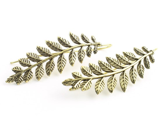 Fern Earrings, Brass Leaves Earrings, Plant Earrings, Tribal Earrings, Festival Jewelry, Gypsy Earrings, Ethnic, Yoga