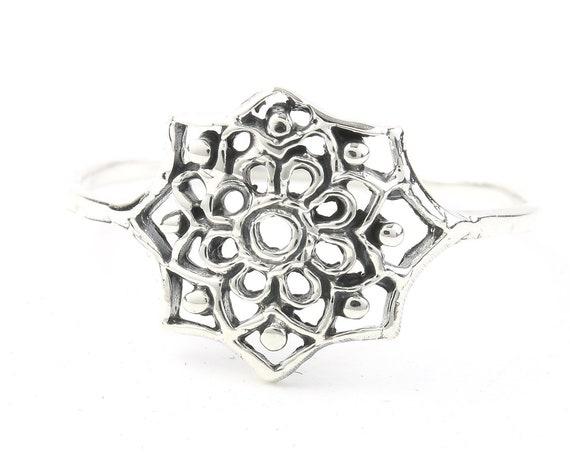 Sterling Silver Mandala Ring, Flower, Cosmic, Boho, Bohemian, Gypsy, Festival Jewelry, Wiccan