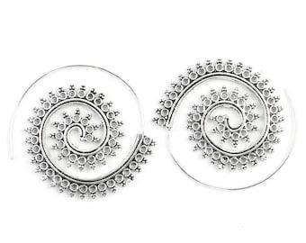 Konya Earrings, Spiral Brass Earrings, Swirl Earrings, Tribal Earrings, Festival Jewelry, Gypsy Earrings, Ethnic, Yoga