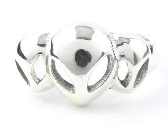 Alien Ring, Sterling Silver Ring, Cosmic, Minimal, Stacking Ring, Boho, Bohemian, Festival, Hippie, Gypsy