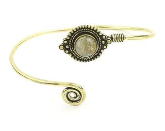 Labradorite Mandala bracelet, Lower Arm Band, Festival, Gypsy, Boho, Bohemian, Gemstone, Hippie, Mandala