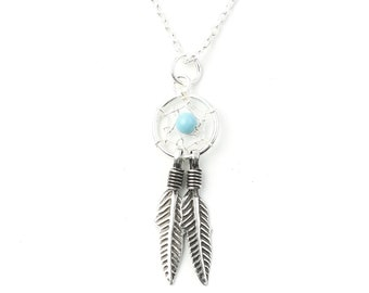 Sterling Silver Dreamcatcher Necklace, Turquoise Necklace, Southwestern, Yoga Jewelry, Spiritual, Boho, Bohemian, Gypsy, Festival, Hippie