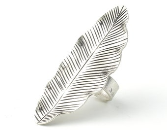 Extra Large Sterling Silver Leaf Ring, Feather Ring, Full Finger, Shield, Statement Piece, Organic, Boho, Hippie, Gypsy, Festival Jewelry