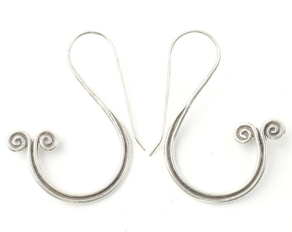 Kata Earrings, Sterling Silver Spiral Earrings, Ethnic, Boho, Bohemian, Gypsy, Festival Jewelry