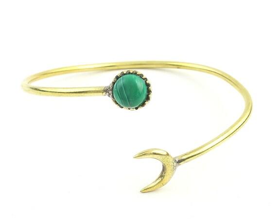 Moonstruck Brass Bracelet, Crescent Moon Bracelet, turquoise, Stone Bangle, Arm Cuff, Boho, Bohemian, Gypsy, Festival Jewelry, Minimal