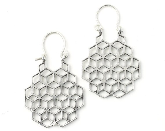 Sacred Geometry Earrings, Honeycomb, Geometric Earrings, Alchemy Earrings, Modern Earrings, Festival, Gypsy Earrings, Ethnic,