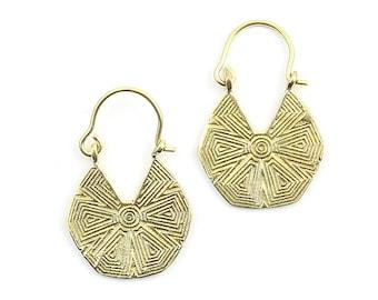 Larkana Earrings, Ornate Ethnic Earrings, Tribal Brass Earrings, Festival Earrings, Gypsy Earrings, Hoop Earrings