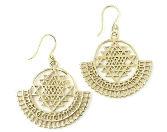 Sri Yantra Earrings, Sacred Geometry, Geometric Earrings, Alchemy Earrings, Modern Earrings, Festival, Gypsy Earrings, Ethnic,