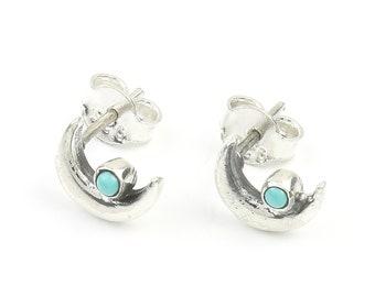 Turquoise Moon Earrings, Sterling Silver Turquoise Stud Earrings, Gypsy, Boho, Small Earrings, Ethnic Earrings