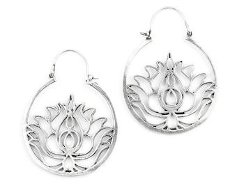 Lotus Earrings, Lotus Hoop Earrings, Boho Jewelry, Tribal Brass Earrings, Festival Jewelry, Gypsy Earrings, Ethnic, Yoga Earrings