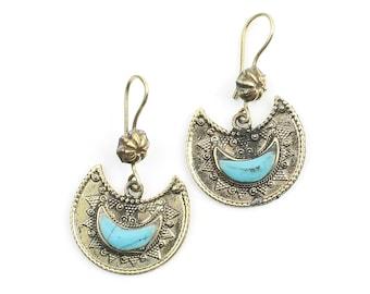 Afghani Moon Earrings, Turquoise, Middle Eastern, Vintage, Afghani, Bohemian, Tribal Earrings, Festival Jewelry, Gypsy Earrings, Ethnic