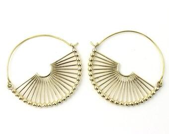 Sivas Earrings, Brass Hoop Earrings, Mandala Earrings, Tribal Earrings, Festival Jewelry, Gypsy Earrings, Ethnic, Yoga