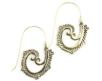 Kayseri Earrings, Spiral Brass Earrings, Mandala Earrings, Swirl Earrings, Tribal Earrings, Festival Jewelry, Gypsy Earrings, Ethnic, Yoga