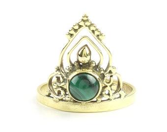 Malachite Temple Ring, Brass Ring, Mandala Ring, Stone Jewelry, Gemstone, Boho, Gypsy, Ethnic, Hippie, Spiritual