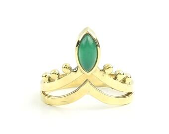 Nadu Ring, Brass Green Chalcedony Ring, Mandala Ring, Stone Jewelry, Gemstone, Boho, Gypsy, Ethnic, Hippie, Spiritual