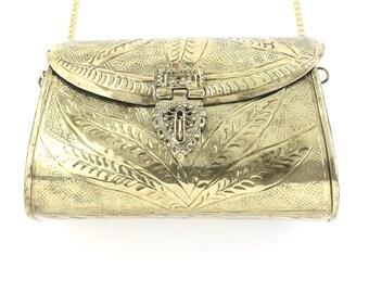 Gwali Clutch, Ornate brass bag, Metal Purse, Antique Bag, Gold Purse, Boho, Gypsy, Cigarette Case