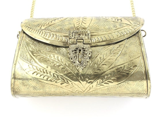 Gwali Clutch, Ornate brass bag, Metal Purse, Antique Bag, Gold Purse, Boho, Gypsy, Cigarette Case