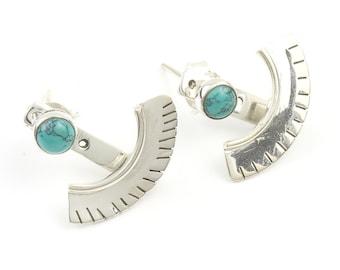 Turquoise Ear Jackets, Sterling Silver Turquoise Earrings, Ear Jewelry, Boho, Festival Earrings, Gypsy Earrings, Ethnic Earrings