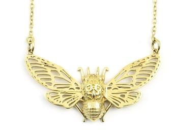Brass Bee Necklace, Large Bug Pendant, Moth, Butterfly Jewelry, Festival Jewelry, Boho, Bohemian, Gypsy, Spiritual