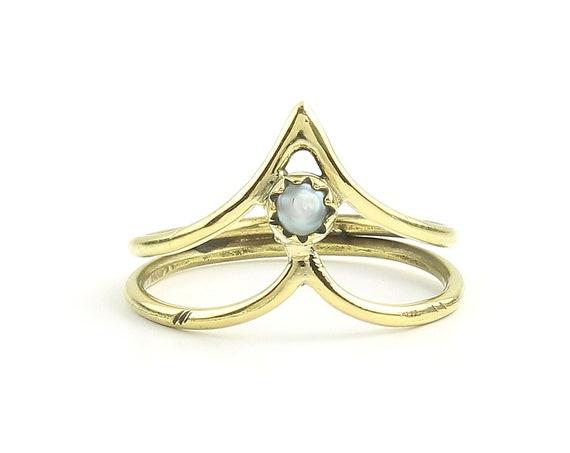 Kochi Brass Ring, Brass Labradorite Ring , Meditation, Yoga Jewelry, Tribal, Ethnic Ring, Gypsy, Hippie Jewelry, Festival Jewelry, Boho
